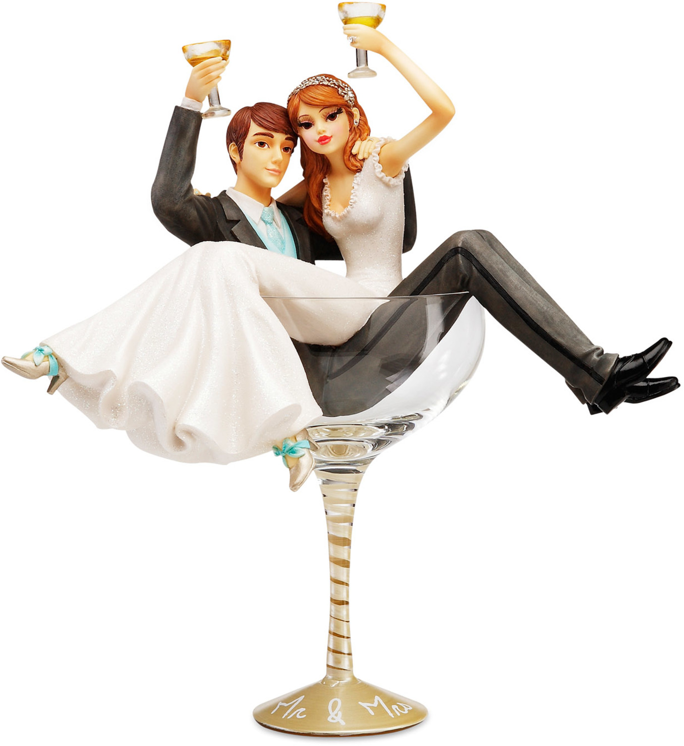 """Mr & Mrs 11"""" Wedding Couple in Glass Hiccup Pavilion"""