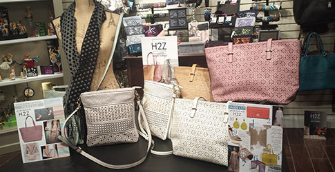 H2Z purse display in the showroom