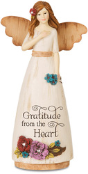 "Thank You by Simple Spirits - 6"" Angel Holding Flower"