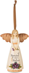 "Sister by Simple Spirits - 4.5"" Angel Ornament Holding Flowers"