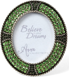 "Peridot Green Oval Frame by Ava Collection - Peridot Green Frame with Gems (Holds 1.75"" x 2.25"" Photo)"