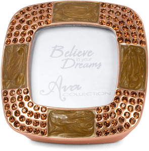 "Copper Topaz Frame & Box by Ava Collection - Copper with Smoked Topaz. Holds 1.5"" x 1.5"" Photo"