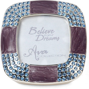 "Amethyst Frame and Box by Ava Collection - Amethyst with Light Sapphire Gems. Holds 1.5""x1.5"" Photo"