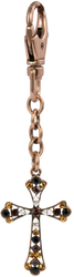 Smoked Topaz by Ava Collection - Cross Key Chain w/Copper