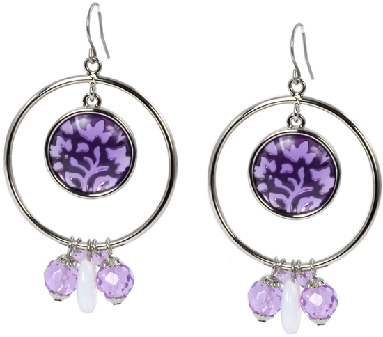 Amethyst by Ava Collection - Amethyst - Double Circles Earrings