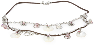 Pink Rose Necklace by Ava Collection - Brown Rope and Pearl Accents