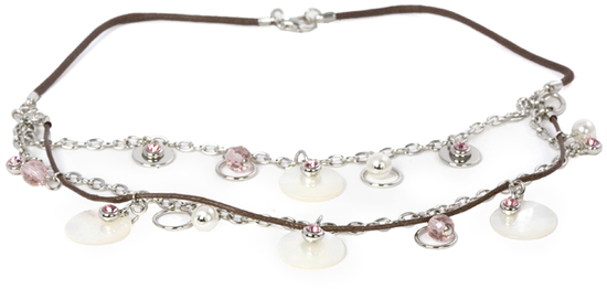 Pink Rose Necklace by Ava Collection - Pink Rose Necklace - Brown Rope and Pearl Accents