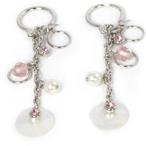 Pink Rose Earrings by Ava Collection - w/Pearl Accents