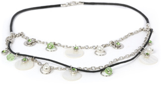 Peridot Necklace by Ava Collection - w/Black Rope & Pearl Accents