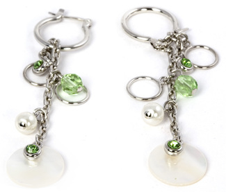 Peridot Earrings by Ava Collection - w/Pearl Accents