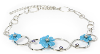 "Tanzanite Necklace by Ava Collection - 18.25"" Blue Flowers & Silver Circles"
