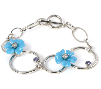 Tanzanite Bracelet by Ava Collection - Flowered  w/Silver Circles
