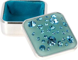 "Aquamarine Square Box by Ava Collection - 1.5"" x 1.5"" Blue Jewelry Keepsake Case"