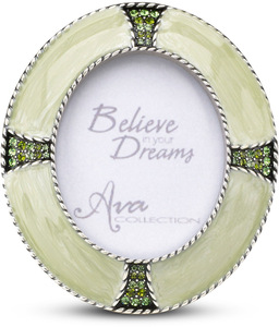 "Peridot Oval Photo Frame by Ava Collection - 3"" x 3.5"" Green Gem Frame (1.75"" x 2.25"") Photo"