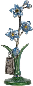 "Thinking of You by Hearts and Meadows - 4.5"" Blue Pewter Flower"