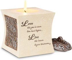 "Living by Comfort To Go - 3.5"" Tapered Square Candle Holder"