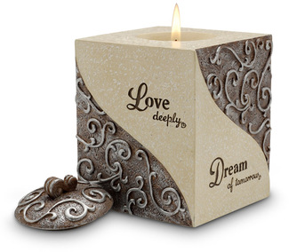 "Love,Dream, Cherish, Believe by Comfort To Go - 4"" Square Candle"