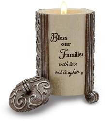 "Bless our Friends & Families by Comfort To Go - 4.25"" Cylinder Candle"