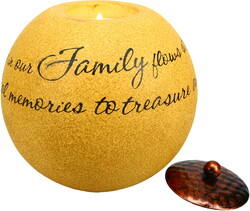 "Family by Comfort Candles - 5"" Round Candle Holder"