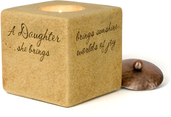 Daughter by Comfort Candles - Comfort Candles is Pavilion Gift's premier line of attractive and durable candle holders with inspirational sayings. These versatile candle holders house a complimentary tealight, and they include either a copper lid or a stand. They arrive packaged in a beautiful gift box, making them a convenient and thoughtful token. Whether the candle is glowing or the copper lid is on, these items are splendidly decorative. The warm coloration and finish on the candles will illuminate your home.