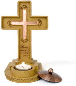 "Love One Another by Comfort Candles - 7.5"" Standing Cross"