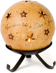 "Shining Star by Comfort Candles - 5"" Pierced Round Stars Candle Holder"