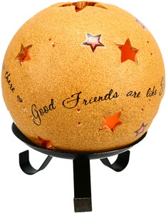 "Good Friends by Comfort Candles - 5"" Pierced Round Stars Candle Holder"