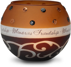 "Friendship/Memories by Comfort Candles - 4.5"" Glass Round"