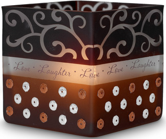 "Love/Laughter by Comfort Candles - 3.5"" Glass Square"