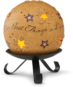 "Best Things in Life by Comfort Candles - 4"" Pierced Round Candle Holder"