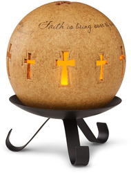 "Faith by Comfort Candles - 4"" Pierced Round w/Stand"