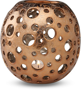 "Pierced Copper by Comfort Candles - 5"" Round Candle Holder"