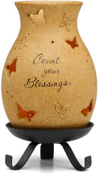 "Count Your Blessings by Comfort Candles - 5.75""Pierced Hurricane/Stand"