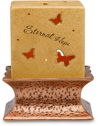 "Hope, Faith, Joy, Peace by Comfort Candles - 4""Pierced Sq/Copper Pedestal"