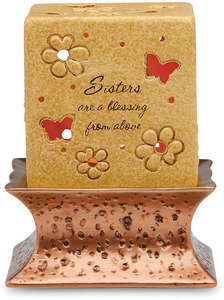 "Sisters are a Blessing by Comfort Candles - 3.5"" Pierced Square Candle Holder"