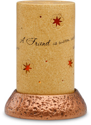 "A Friend by Comfort Candles - 5""Pierce Cyl/Copper Pedestal"
