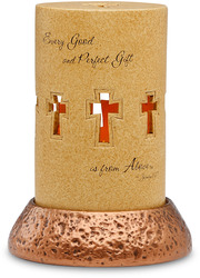 "Perfect Gift by Comfort Candles - 5""Pierce Cyl/Copper Pedestal"