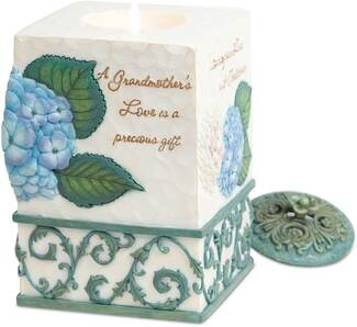 "Grandmother by Comfort in Bloom - 3.5"" x 5.6"" Tall Floral Candle Holder"