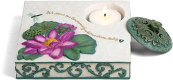"Dreams by Comfort in Bloom - 5"" Flat Square Candle Holder"