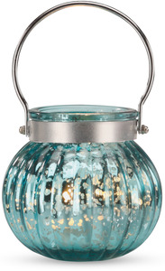 "Round Teal Glass by Feel Good - 3.5"" Candle Holder w/Handle"