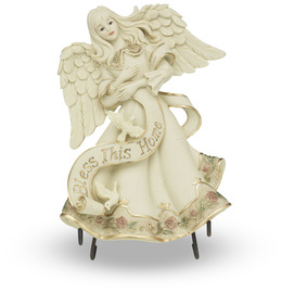 "Bless This Home by Sarah's Angels - 7"" Angel Plaque w/Stand"