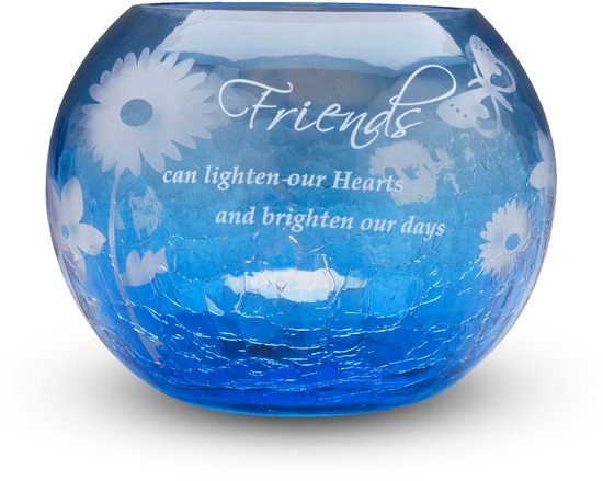 "Friend by Bonita - Friend - 5"" Blue Glass Candle Holder"