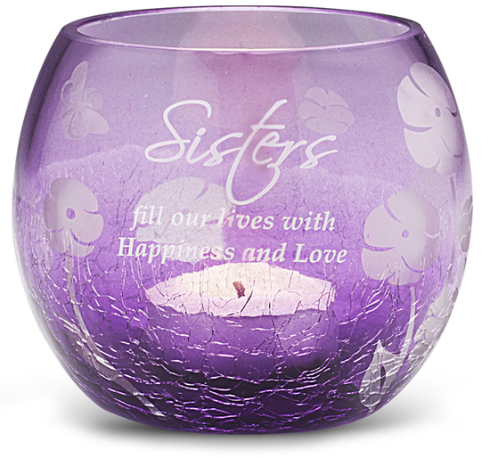 "Sister by Bonita - Sister - 3.5"" Purple Glass Candle Holder"