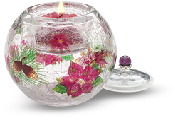 "Poinsettia w/TL by Bonita - 3.5"" Glass Tea Light Holder"