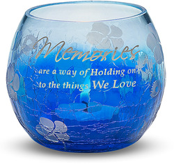 "Memories by Bonita - 2.5"" x 3"" Blue Glass Candle Holder"