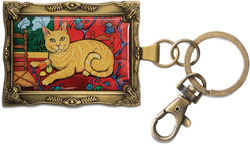 "Orange Tabby - Catisse by Paw Palettes - 2""x 2.75"" Matisse Cat Key Chain"