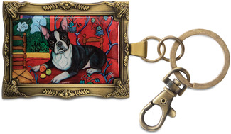 "Boston Terrier - Muttisse by Paw Palettes - 2""x 2.75"" Key Chain"