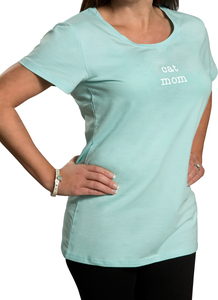 Cat Mom by Mom Love - Small Teal/Mint Green T-Shirt