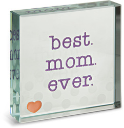 "Best Mom  by Mom Love - 3"" x 3"" Glass Plaque"