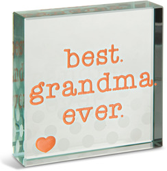"Best Grandma by Mom Love - 3"" x 3"" Glass Plaque"